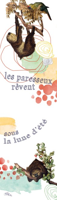 Marque-pages Haïku Paresseux